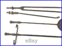 Antique Old Brass Handle Fireplace Tool Set 60-253 Base Shovel Tongs Poker
