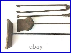 Antique Old Brass Handle Fireplace Tool Set 60-253 Base Shovel Tongs Poker