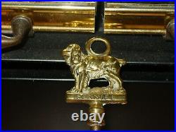Antique Original European Complete Fireplace Brass Tools Set Spaniel Motif