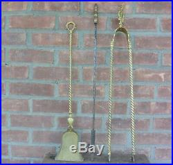 Antique Ornate French Brass Fireplace Tool Set