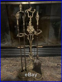 Antique Ornate Solid Brass Fireplace Tools Set 2 Piece With Stand French Decor