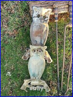 Antique Owl Andirons with Set of Fireplace Tools