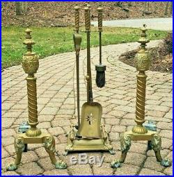 Antique Pair Claw Foot Brass Andirons Fire Dogs & Fireplace Tool Set With Holder
