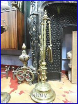 Antique Set Holder Tool For Fireplace Bronze Original Period