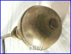 Antique Set Of Period Early American Brass Ball Top Fireplace Tools