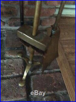 Antique Solid Brass Fireplace Tool Set 1800s