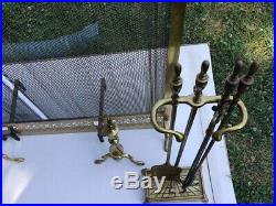 Antique Solid Brass/Iron Fireplace Screen withAndirons And Tools Set