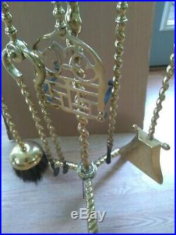 Antique Solid Brass Very Rare Authentic Fireplace Tool set