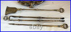 Antique VINTAGE DUTCH fireplace SET of TOOLS SOLID BRONZE / BRASS