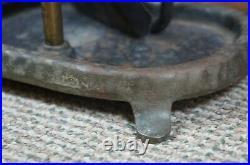 Antique Victorian 5 Piece Hammered Bronze & Iron Fireplace Tool Set w Stand 290