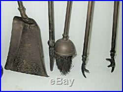 Antique Victorian Brass 5 Piece Fireplace Wood Stove Tool Accessory Set