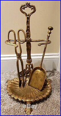 Antique Victorian Gold Gilt Cast Iron Fireplace Tool Set with Decorative Stand