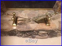 Antique Vintage 4 Piece Victorian Brass Firedogs & Fireplace Tools Rest Set