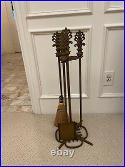 Antique Vintage Brass Bronze Fireplace 4 Piece Tool Set Fleur De Lis Heavy