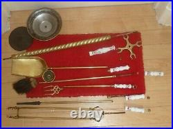 Antique Vintage Brass Fireplace Companion Set Fire Side Tools Ceramic Floral