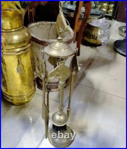 Antique Vintage Brass Fireplace Companion Set Fire Side Tools Horse Shape