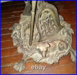 Antique Vintage Brass Fireplace Tool Set 3pc