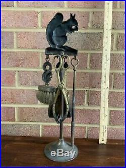 Antique Vintage Brass Squirrel Miniature Fireplace Tool Set Poker Brush Shovel