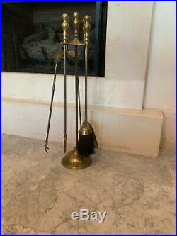 Antique Vintage Wrought Ornate Brass Metal 5 Pieces Fireplace Tool Set Nice