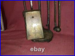 Arts And Crafts Brutalist Iron Fireplace Tools Set Antique