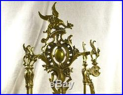 5 PC SET FIREPLACE TOOLS STAND DRAGON GRIFFIN VICTORIAN MEDALLIONS