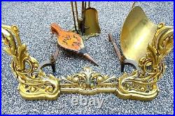 BRONZE Cast Brass Fireplace Complete Set Includes All Tending Tool Free Standing