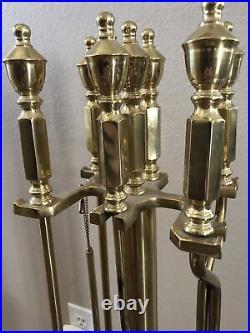 Beautiful Vintage Heavy BRASS (gold) Fireplace Tool Set