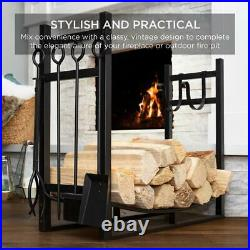 Black Firewood Rack with Fireplace Tools Outdoor Fire Pit Poker Set Wood Burning