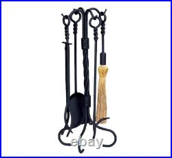 Black Wrought Iron 5-Piece Fireplace Tool Set with Twist Base and Twist Handles