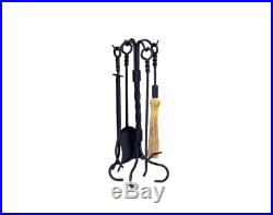 Black Wrought Iron Fireplace Tool Set 5-Piece with Stand Shovel Brush Poker Lifter