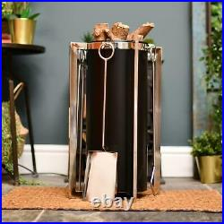 Black and Polished Chrome Fireside Log and Coal Holder With Tools Fire Place Set