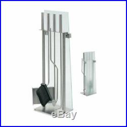 Blomus 65130 Glass Front Fireplace Set Stainless Steel 5 Pieces