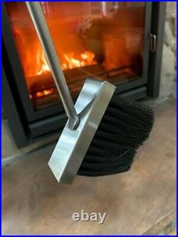 Brand New High End Fireplace Tool Set Polished Nickel/Steel, Base Oak