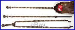 Brass Barley Twist Fireplace Tool Accessory Set Antique 1850s English 61cm / 24