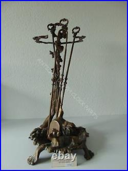 Brass Baroque Fireplace Tool Set Hunting Theme With Game / Rifle / Dog
