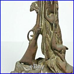 Brass Baroque Fireplace Tool Set Shovel Poker Tongs Hunting Game Rifle Dog