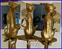 Brass Cats VTG Fireplace Set of 4 Poker Shovel Thongs Broom Brass Base Tool Set