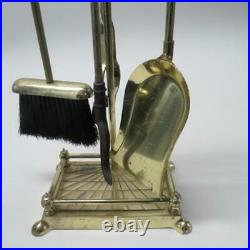 Brass Duck Head VTG Figural Fireplace Tool Stand Set Brush Shovel
