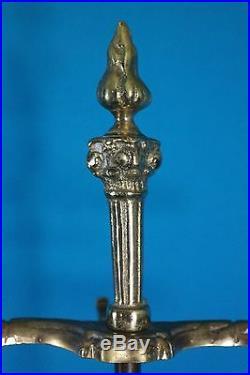 Brass Fireplace Tool 4 Piece Set Including Stand, Shovel, Poker, Broom