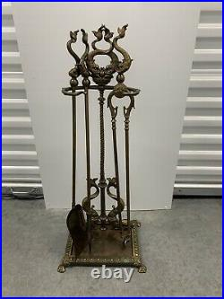 Brass Fireplace Tool Set With Fish Rare Vintage
