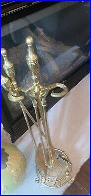 Brass Four Piece Fireplace Tool Set