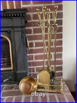 Brass fireplace tool set with log holder, shovel, poker, broom and ladle