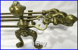 Chippendale Claw Ball Companion Fire Place Tools Andiron Stand Set Lge 68cm/26
