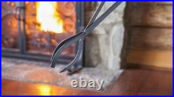 Compact Size Hand-Forged Fireplace Tool Set, Black Wrought Iron Classic Design