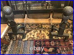 Complete antique art and crafts fireplace Set tools andirons screen