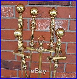 Contemporary 5 Pcs Brass Plated Fireplace Tools -Stand/Damper/Broom/Shovel/Tongs