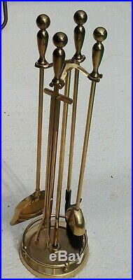 Contemporary Fireplace Tool Set Polished Brass Includes Stand and Andirons