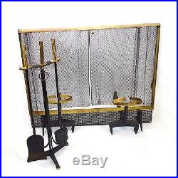 DONALD DESKEY Fireplace Set ANDIRONS Tools and SCREEN Bennett MID-CENTURY
