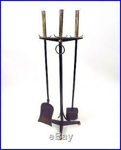 DONALD DESKEY Fireplace Set ANDIRONS Tools and SCREEN Bennett MID-CENTURY