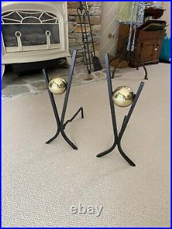 DONALD DESKY ANDIRONS. STEEL AND BRASS MIDCENTURY with Fireplace tools SET